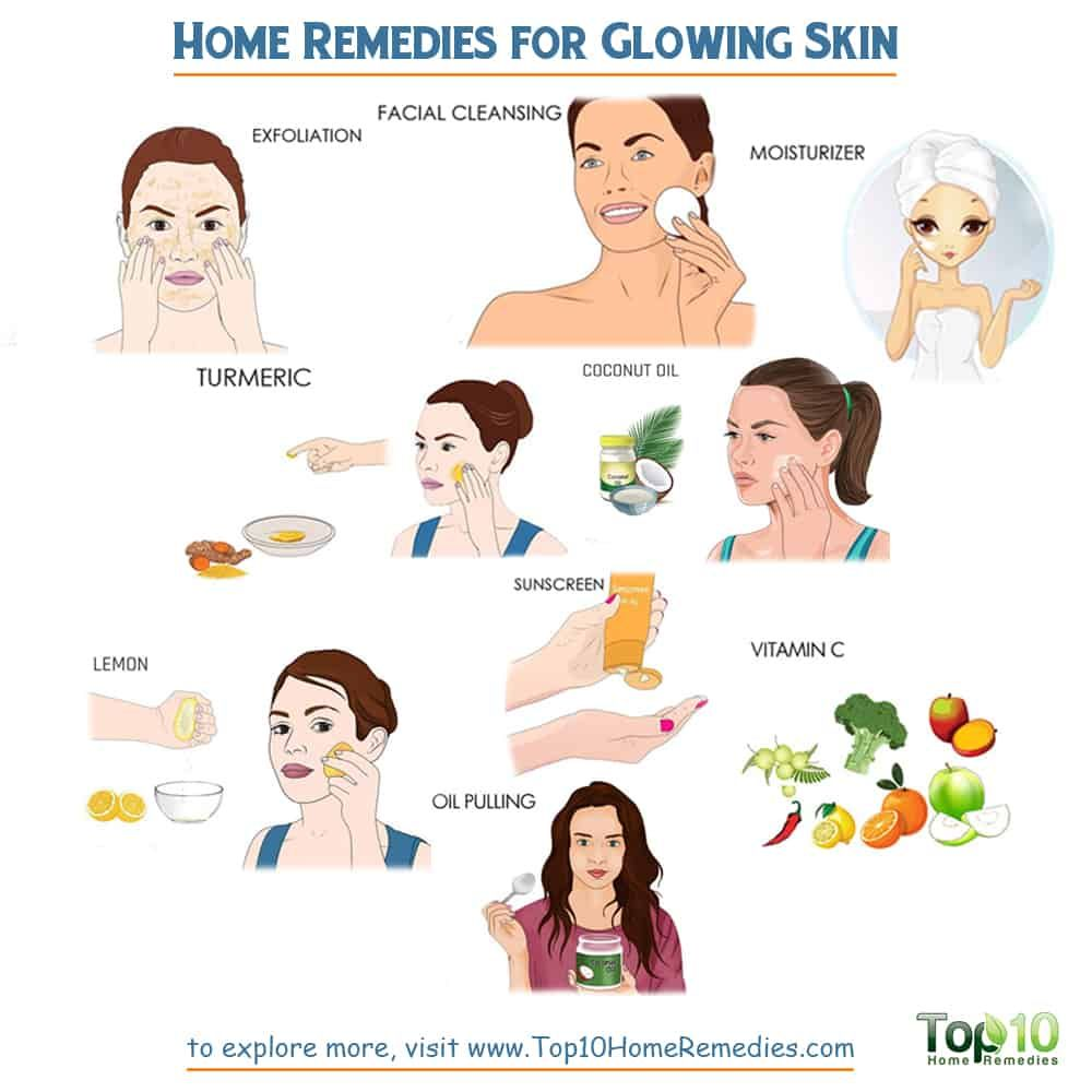 Home Remedies For Glowing Skin Top 10 Home Remedies Remedies For Glowing Skin Glowing Skin Facial Skin Care Pimples
