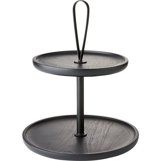 Shop 2 Tier Loop Server With Handle Two Tiered Metal Stand Showcases Colorful Sweets And Treats From A Stage Of All Black Black Cupcake Stand Tiered Metal