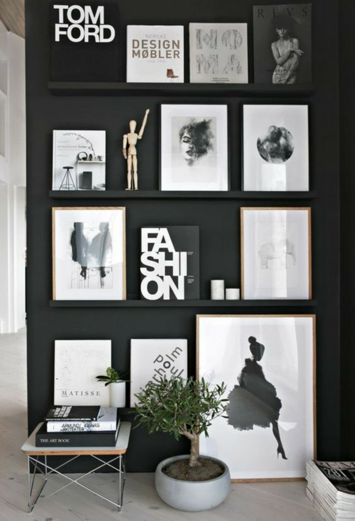 Wandgestaltung Schwarz Weiß Wohnzimmer Einrichten Akzentwand Bilderrahmen,  Dekoration, Leisten