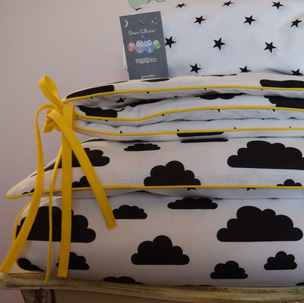 single Bedding duvet Set reversible WHITE CROWN BABY MONOCHROME COTTON cot bed