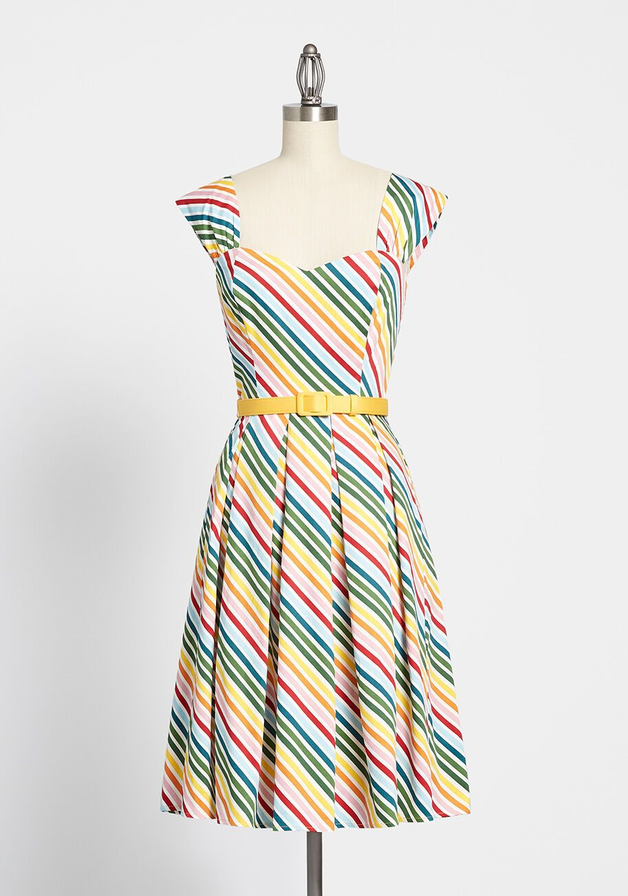 Vintage Vibrant Striped Dress