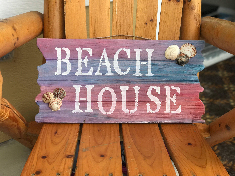 Beach House Beach Sign Wooden Beach Sign Colorful Beach House