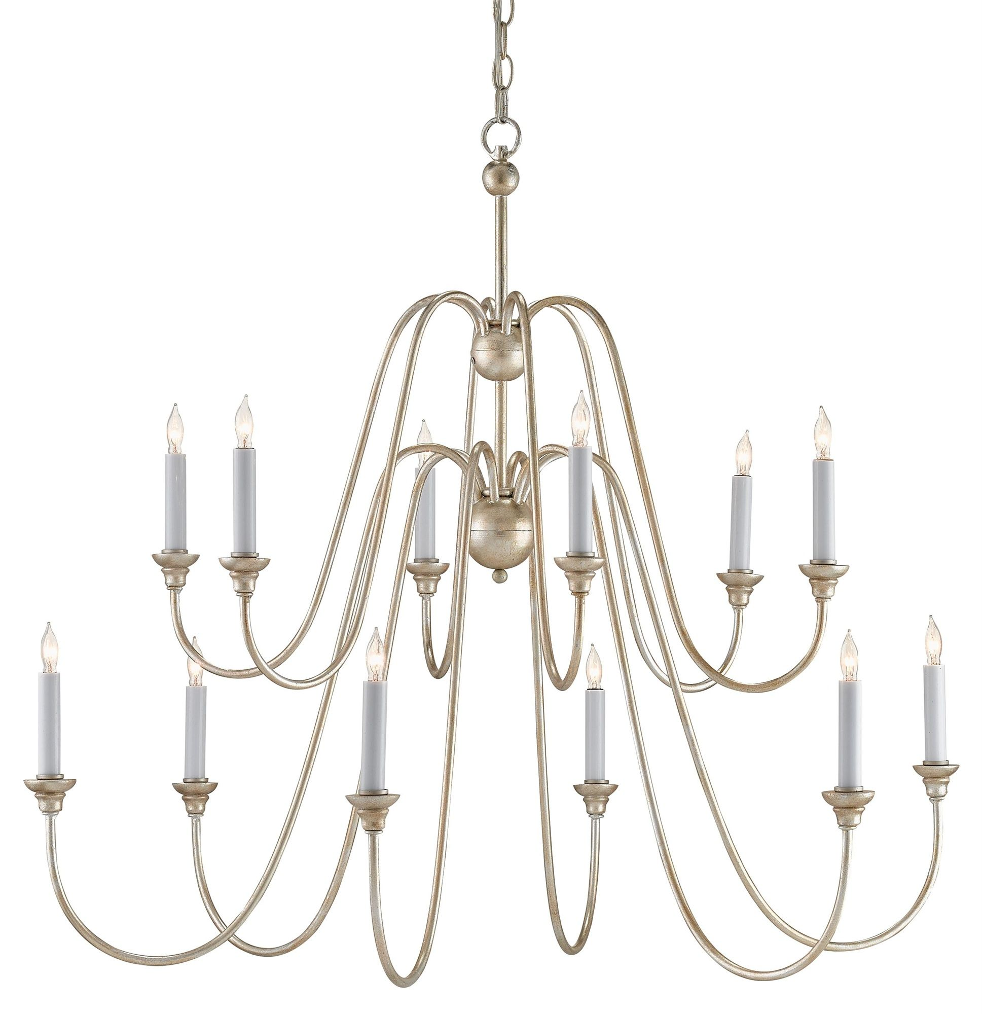 Currey Company 9289 Orion Chandelier In Silver Leaf