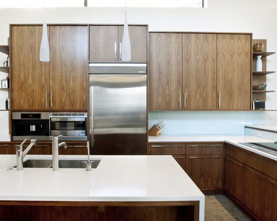 book matched wood cabinets, counter returns to floor renovation