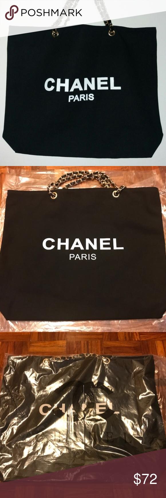 87f3585a5245e0 Chanel VIP Gift Canvas Tote Bag Shopper Bag CHANEL VIP Black Canvas Tote  Bag Shopping Travel
