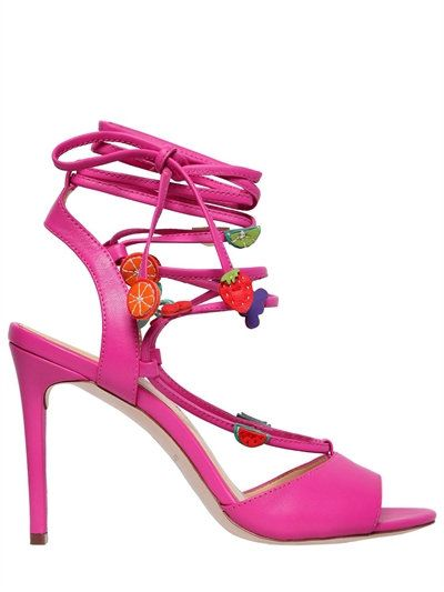 KATY PERRY - 100MM CARMEN FRUIT LEATHER SANDALS - SANDALS - FUCHSIA -  LUISAVIAROMA - 100mm