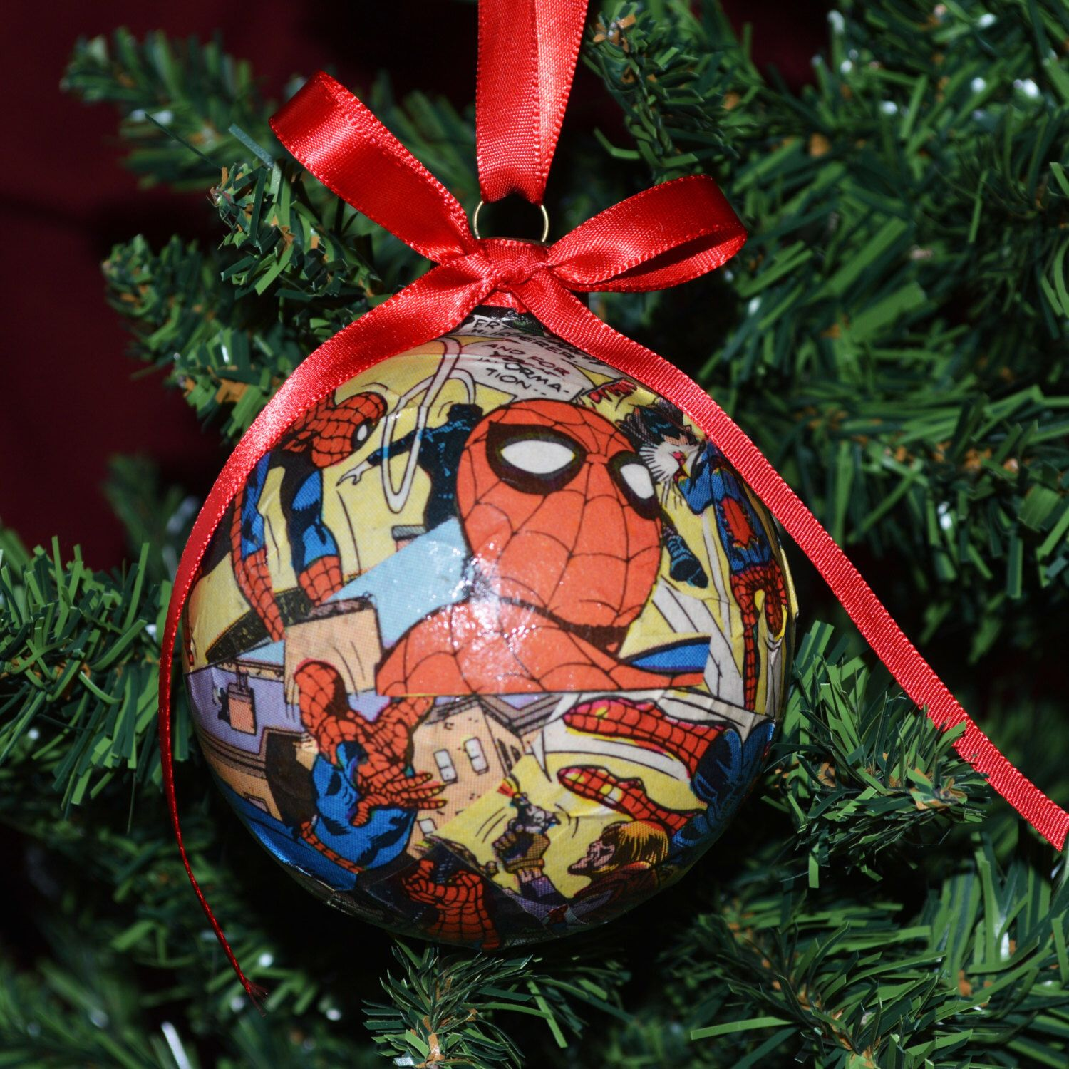 Handmade christmas ornaments on etsy - Comic Book Ornaments Spiderman Ornaments Christmas Ornaments Superhero Ornaments By Babybirdiecreations On Etsy