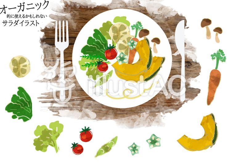 フリー素材 健康的なサラダ 水彩風の野菜イラスト 手描き 水彩 野菜