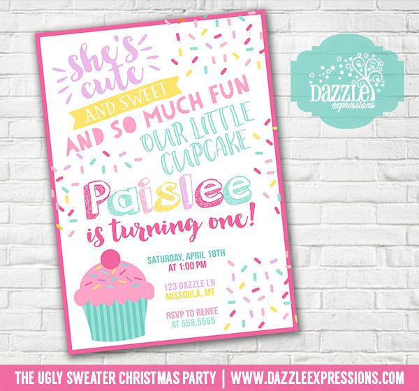 Printable cupcake and sprinkles birthday invitation girls 1st printable cupcake and sprinkles birthday invitation girls 1st birthday sprinkle confetti cupcake toppers favor tag food labels sign banner filmwisefo