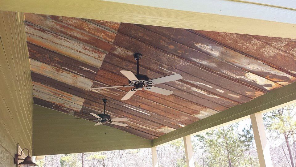 Screened In Porch Ceiling From Old Barn Tin I Love This Look