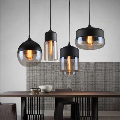 Loft Vintage Pendant Light Art Glass Black White Gray Lampshade Kitchen Hanging Lamp Glass
