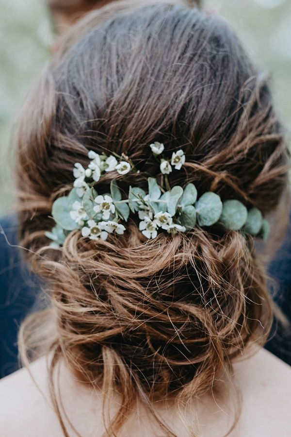 bride hairstyle wedding hairstyle eucalyptus - Haarschmuck Braut Eukalyptus