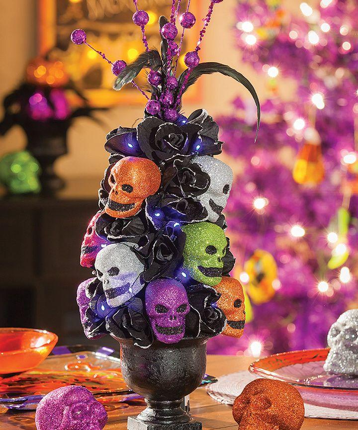 Boo Boa LED Tabletop Tree Stacked Glitz Skulls Halloween Decoration