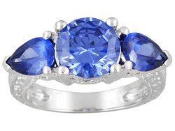 Bella Luce (R) Esotica (Tm) 5.88ctw Tanzanite Color Rhodium Plated Sterling Silver 3-stone Ring