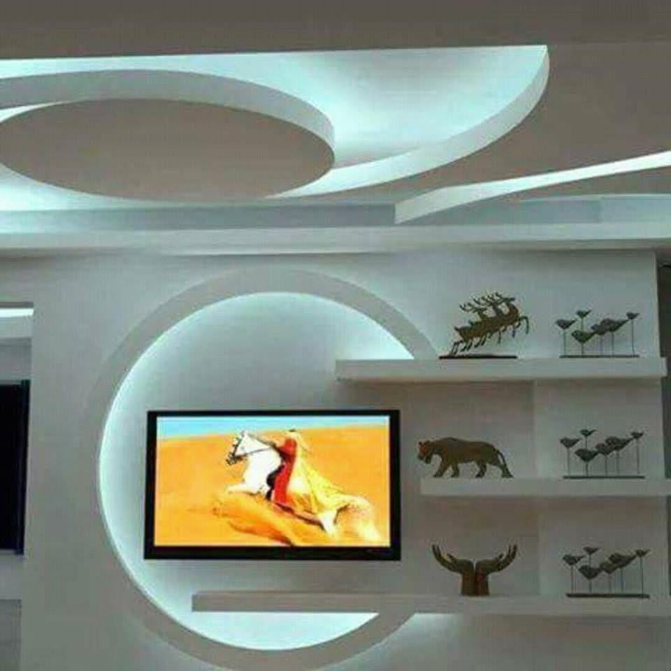 ديكورات الجبس اشغال الجبس العصري والديكور المنزلي في المغرب Tv Wall Design False Ceiling Design Wall Design