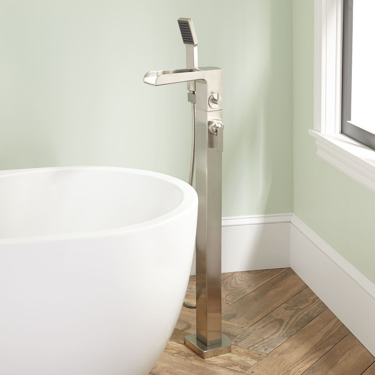 Dario Freestanding Waterfall Tub Faucet with Hand Shower   Faucet ...