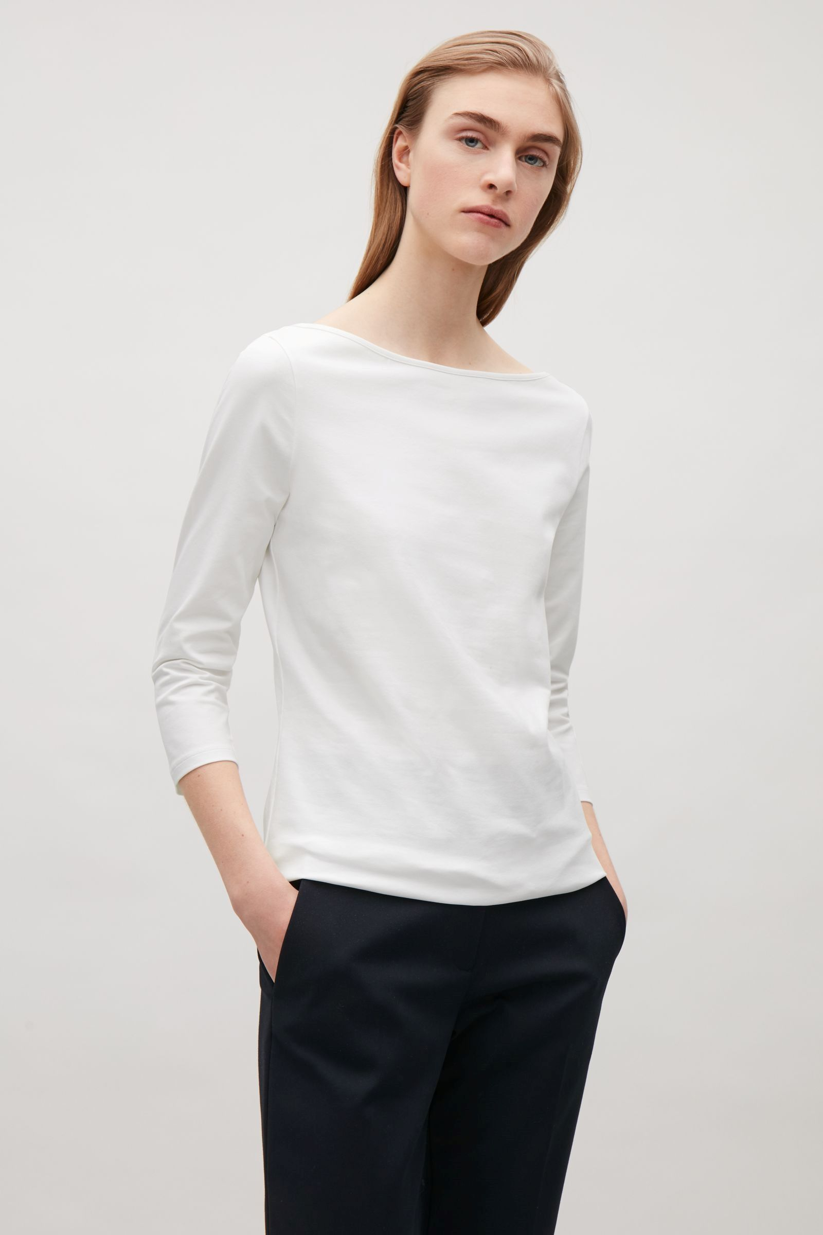 f996c8fc61b48d COS image 4 of 3/4 sleeve wide-neck t-shirt in White | NECKLINE ...