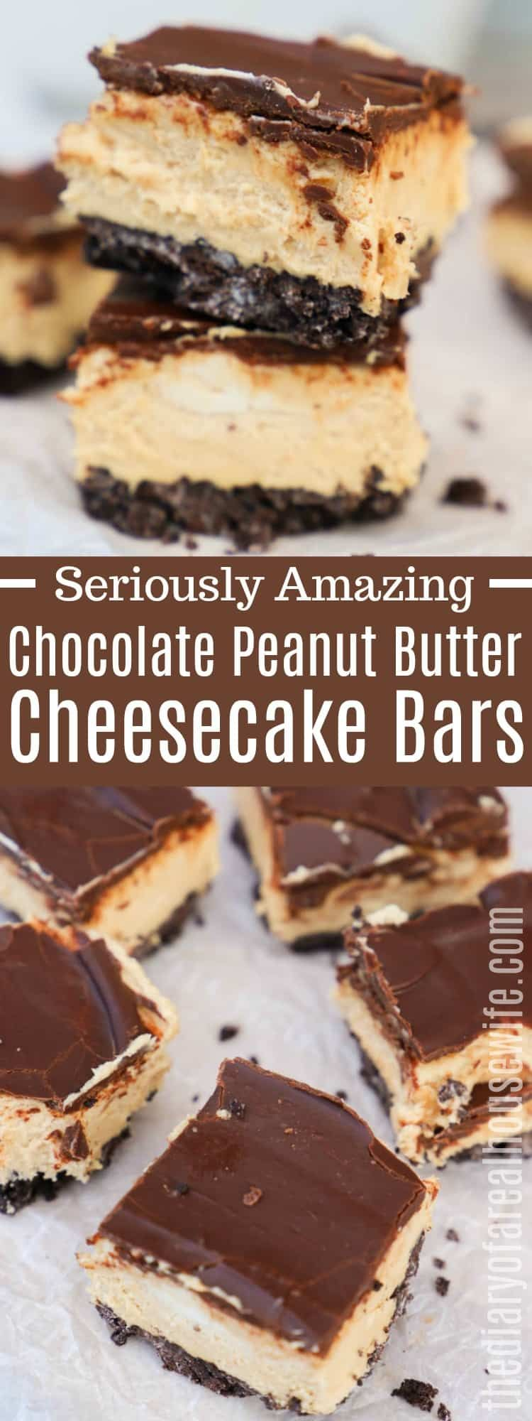 Chocolate Peanut Butter Cheesecake Bars - The Diary of a Real Housewife #peanutbuttersquares