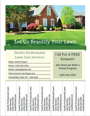Printable Landscaping And Lawn Care Business Flyer Templates With Tear Off Tabs Lawn Care Business Lawn Mowing Business Lawn Care Flyers