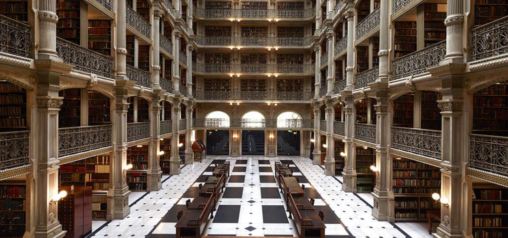 Peabody Library, Baltimore, MD https//roadtrippers