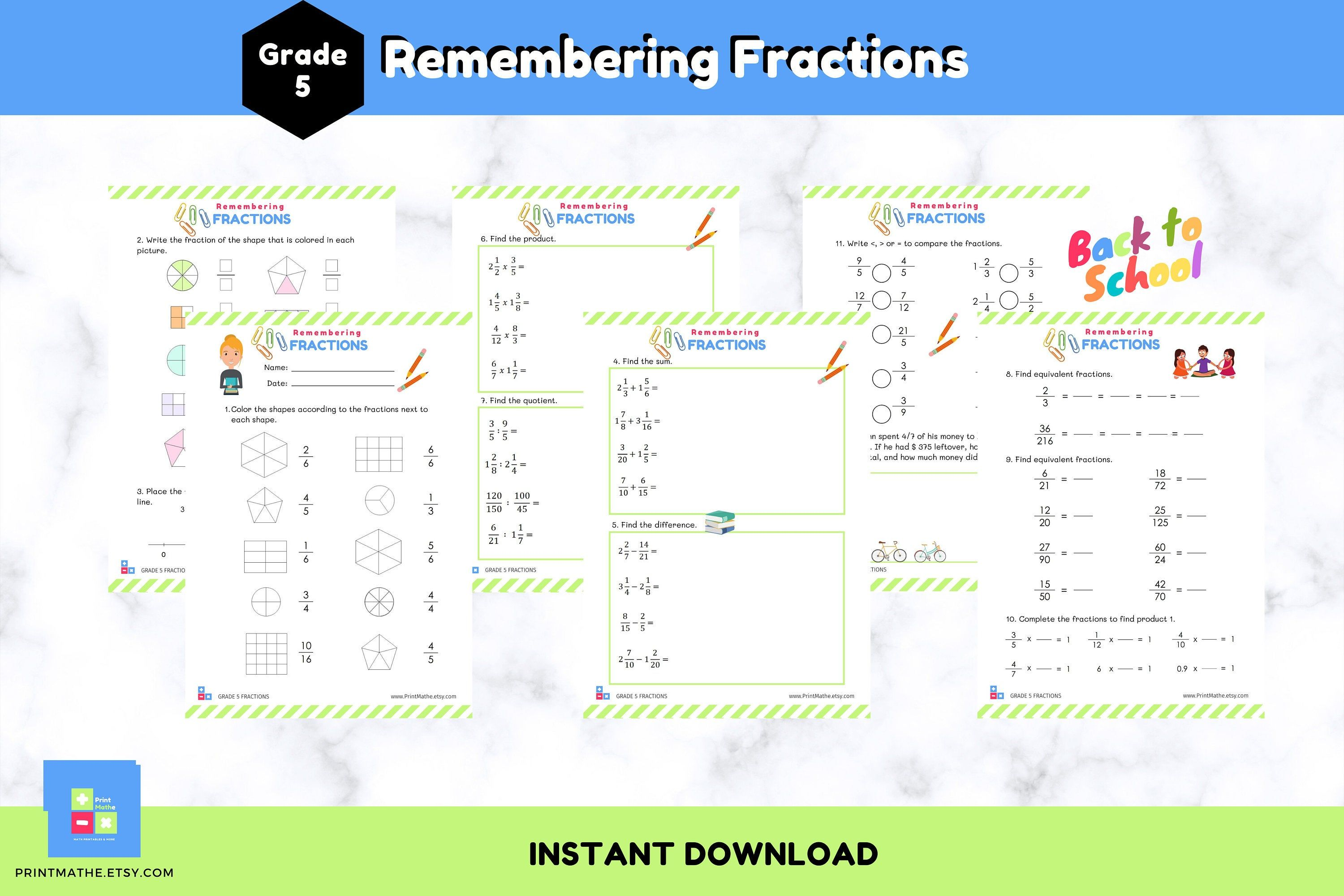 Fractions Worksheets for Grade 5 Math Book on Fractions
