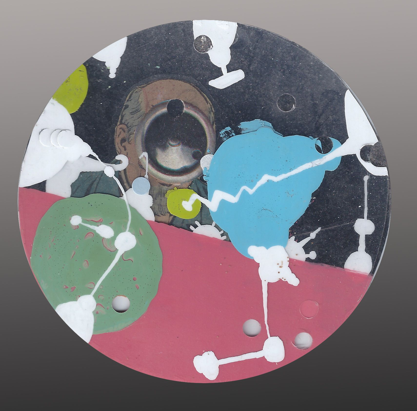 collage, paint on yogurt circle container