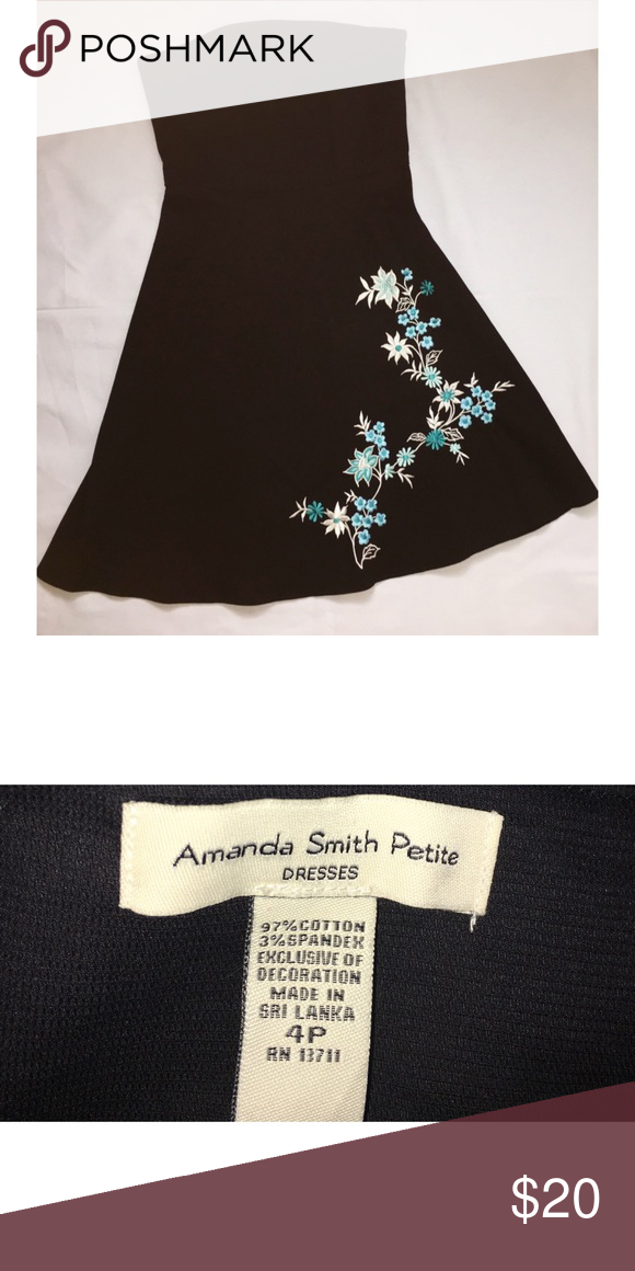 AMANDA SMITH STRAPLESS BLACK WITH FLORAL EMBELLISHMENTS! Amanda Smith Dresses