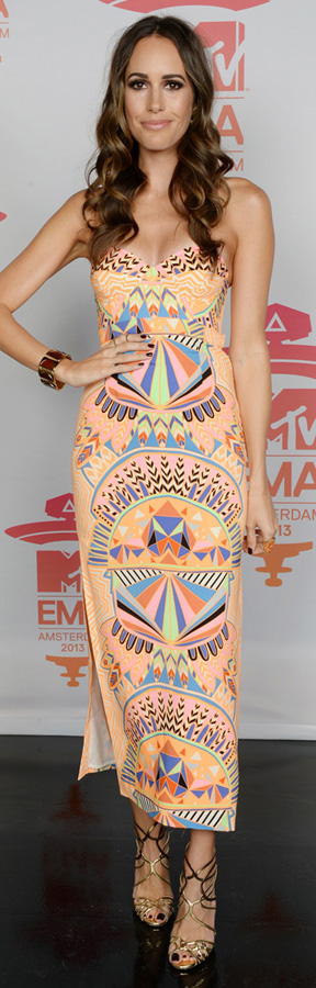 Louise Roe in a Mara Hoffman printed dress at the MTV EMA's