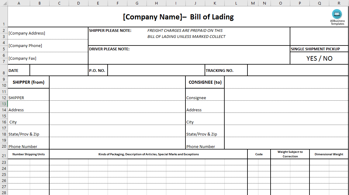 Bill Of Lading  Download This Bill Of Lading To Ensure Safe