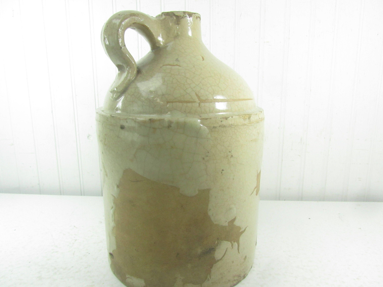 Antique Crock, Whiskey Jug, salt glaze, farmhouse decor