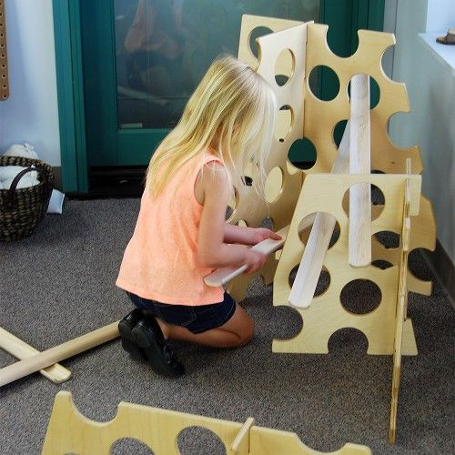 Swiss cheese towers with discovery ramps