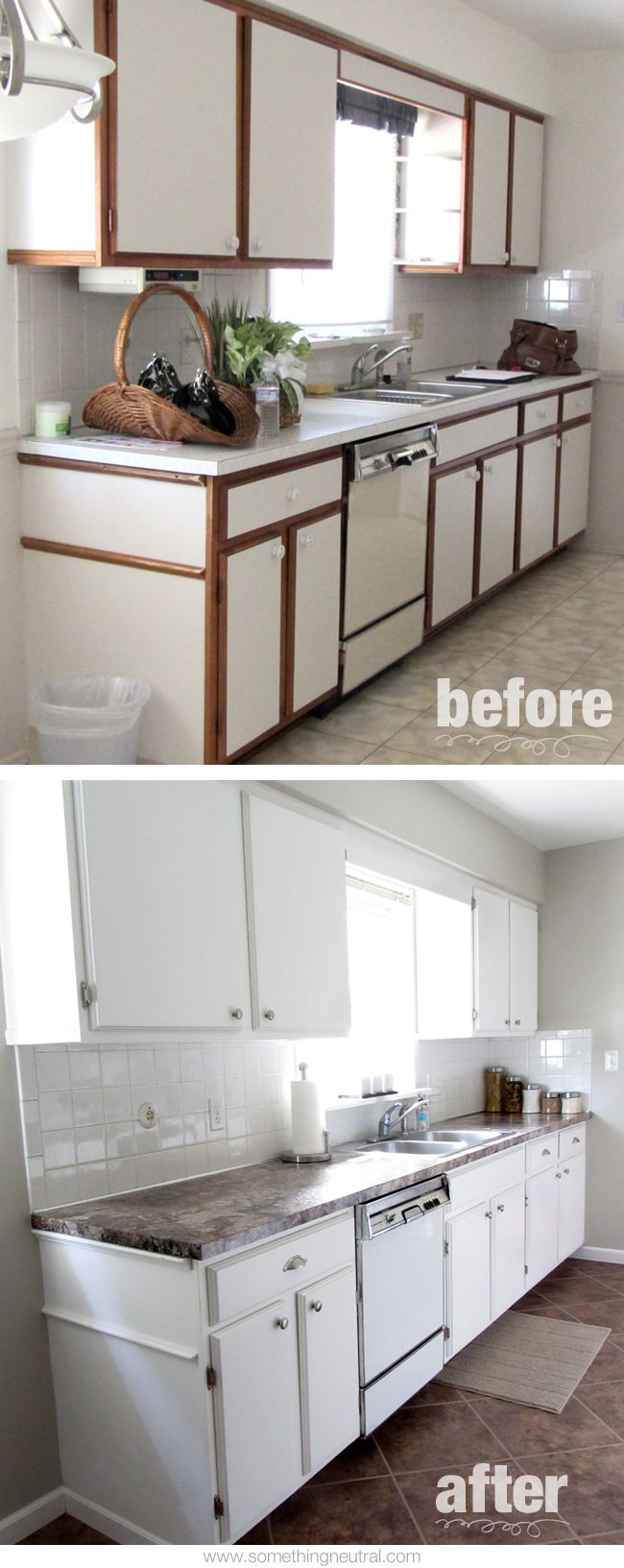 Kitchen Before After Diy Neutral Tan White Remodel Cabinets Hardware Paint Laminate Countertops Flooring Flip