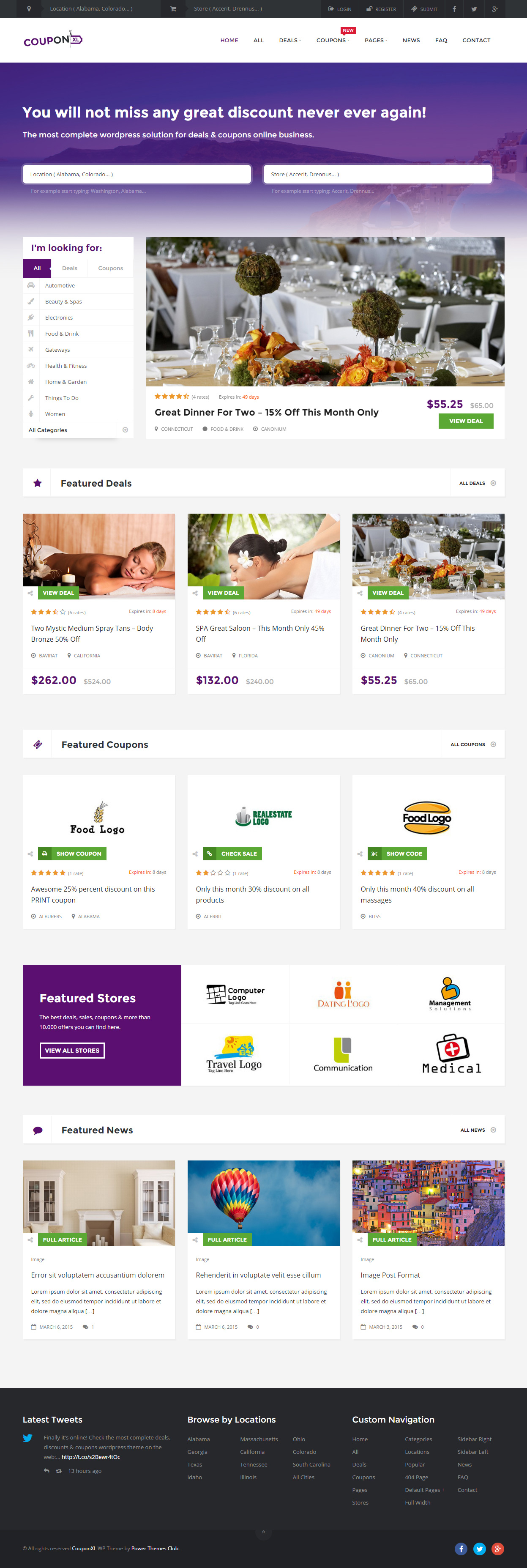 CouponXL is Premium full Responsive WordPress Coupons Theme. Retina Ready. Bootstrap Framework. MailChimp. Google Map. PayPal. Test free demo at: http://www.responsivemiracle.com/cms/couponxl-premium-responsive-coupons-deals-discounts-wordpress-theme/