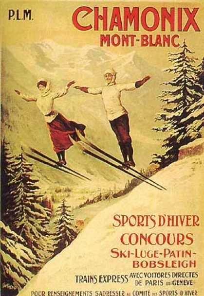 Chamonix Mont Blanc Tamagno Skiing Poster Print