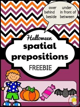 Work on spatial prepositions with your students using these fun and cute Halloween themed cards.  Discuss where the Halloween objects (pumpkin, bat, and candy) are in relation to the boy.  This activity focuses on the following spatial prepositions: in front, behind, over, under, next to, & between.