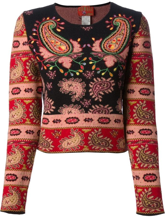 a103b03fefe Kenzo Vintage 'Jungle Kenzo' embroidered knit sweater on shopstyle.com