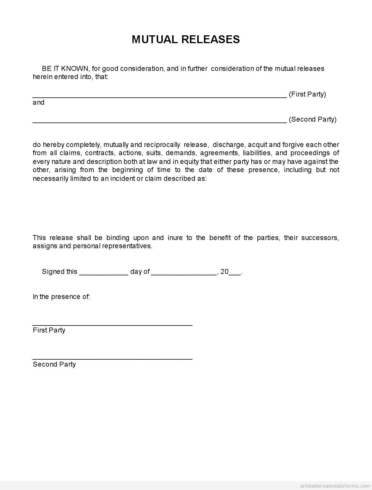 Sample Printable Termination Of Sale Mutual Releases  Form