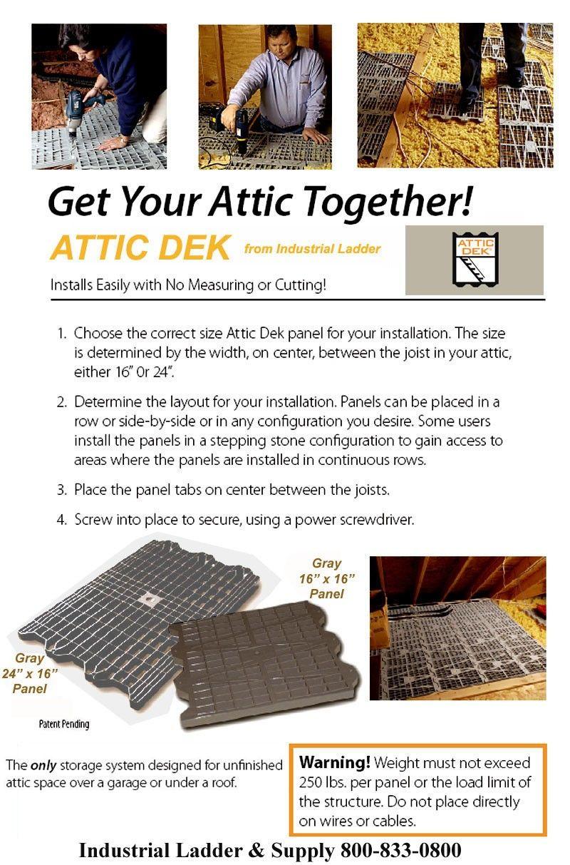 Attic Dek Flooring Panels Creates A Attic Storage Solution Attic Ladder Parts And Accessorie With Images Attic Storage Solutions Attic Storage Attic Renovation