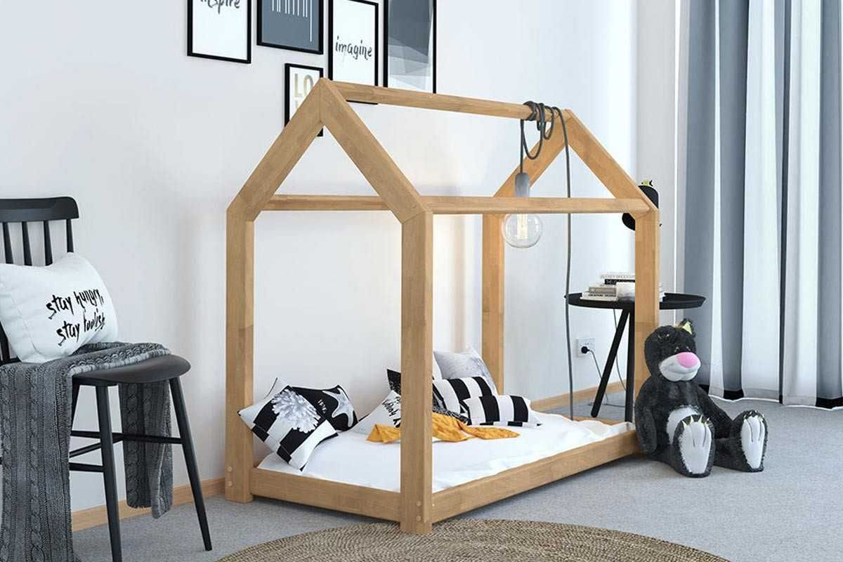 Treehouse Style Kids Canopy Bed Frame Children White Solid Pine Wooden Single