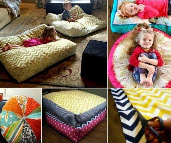 No Sew Floor Pillow Easy DIY Project Video Tutorial | Giant floor ...