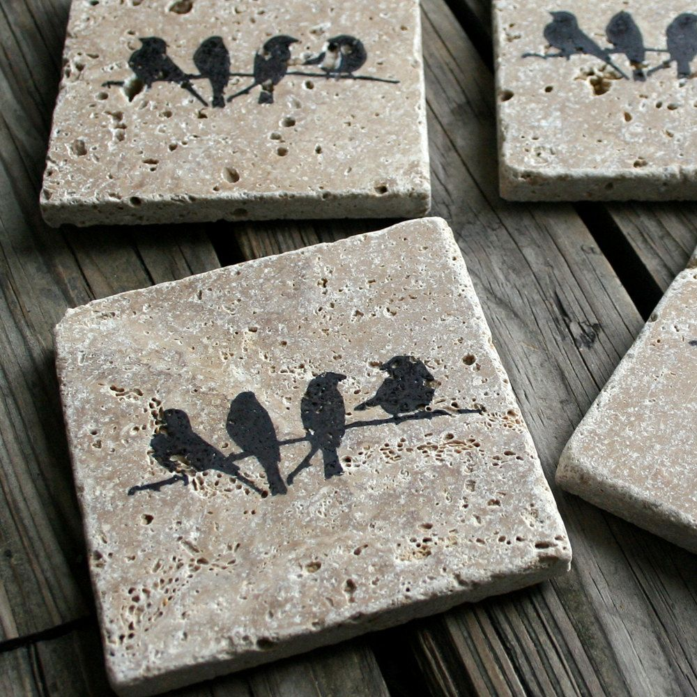 hostess friend gift travertine tile coasters in dark by ecoprint crafting pinterest. Black Bedroom Furniture Sets. Home Design Ideas