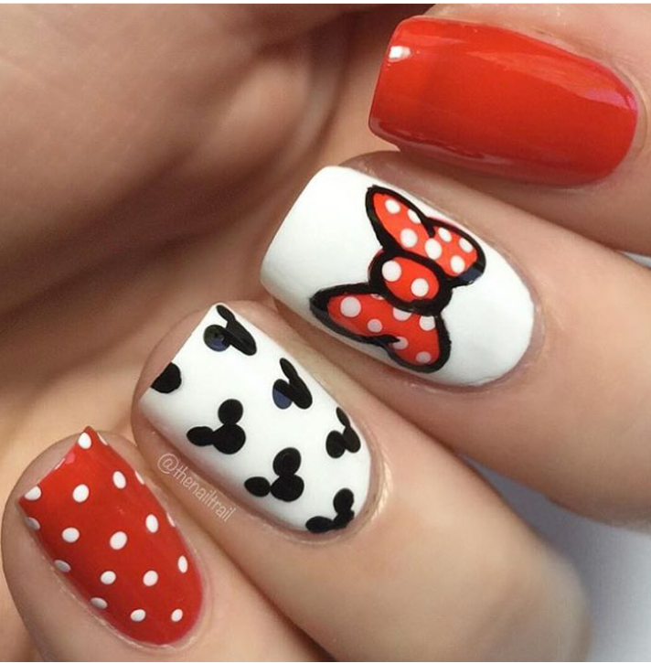 Cute Minnie & Mickey inspired nails | uñas de niñas | Pinterest ...