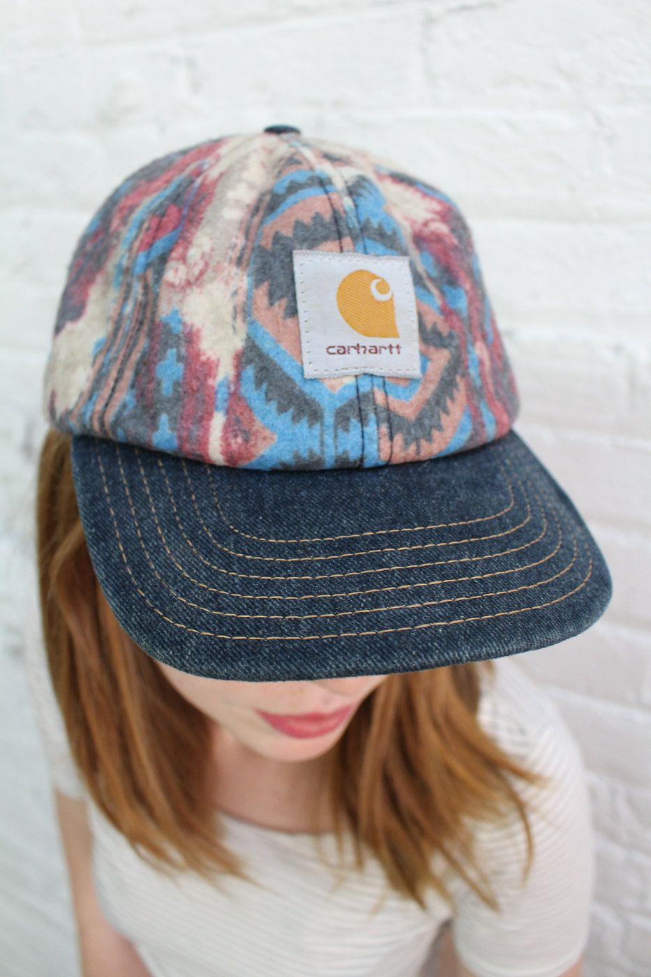 vintage Carhartt hat   flannel baseball hat with aztec print   denim brim    workwear by dustyrosevintage on Etsy 72a6af81f5d8