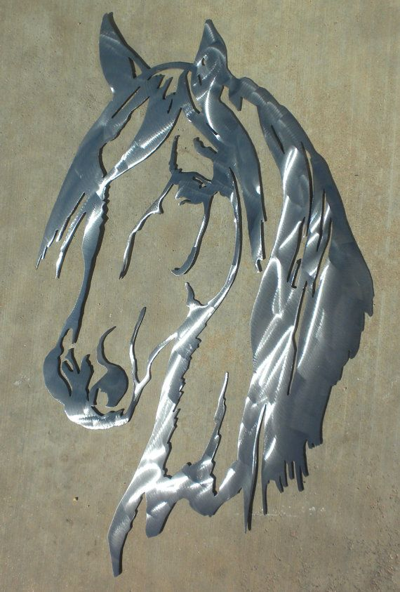 24 Inch Horse Head Polished Metal Steel Wall Art Western Cabin Decor  Stencil, $35!!