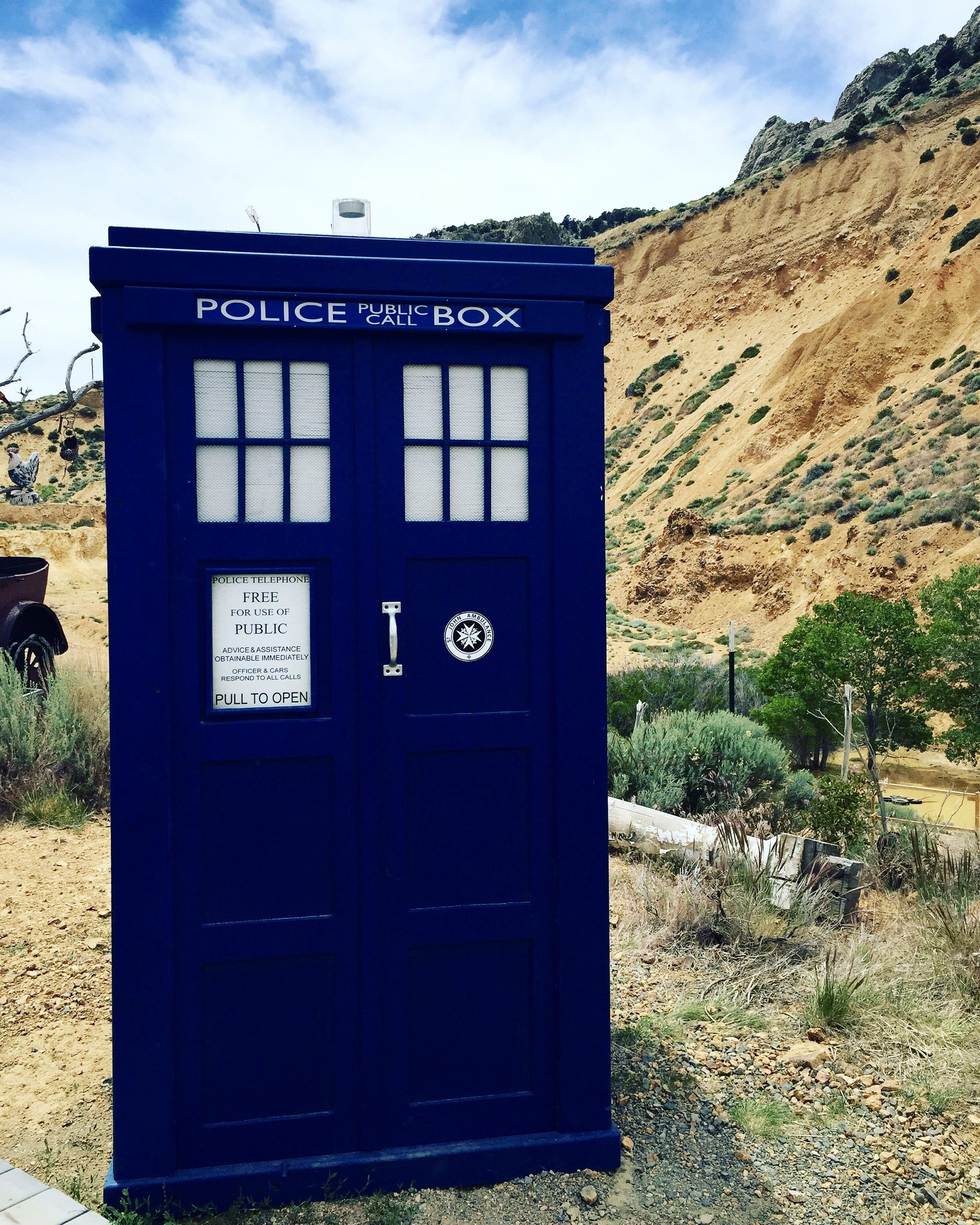 Tardis sighting in the desert! I heard the distinctive sounds of a gunfight underway in town, so the Doctor must have been in trouble already. #doctorwho #tardis #travel #nevada #virginiacity