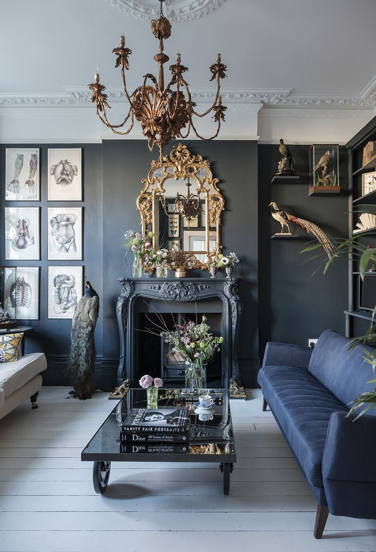 Industrial and Moody Modern Gothic London Home. #interiordesign #interiordesignideas #livingroom