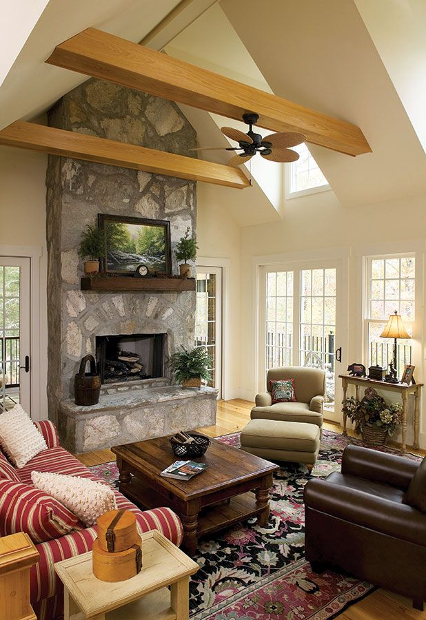 Great room from the Adelaide Plan 866-D http://www.dongardner.com/plan_details.aspx?pid=2253 - From decorative ceilings and columns to fireplaces and a shower seat, niceties are abundant in this hillside walkout home. #HousePlans #Craftsman #LivingRoom