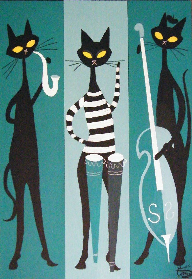 jazz cats, by El Gato Gomez Look like my cats that were destroyed by the pigeons. :-(