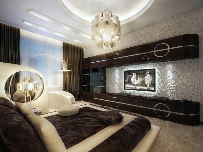 wohnideen schlafzimmer modern schwarz wei fernseher eingebaut - Designer Schlafzimmer