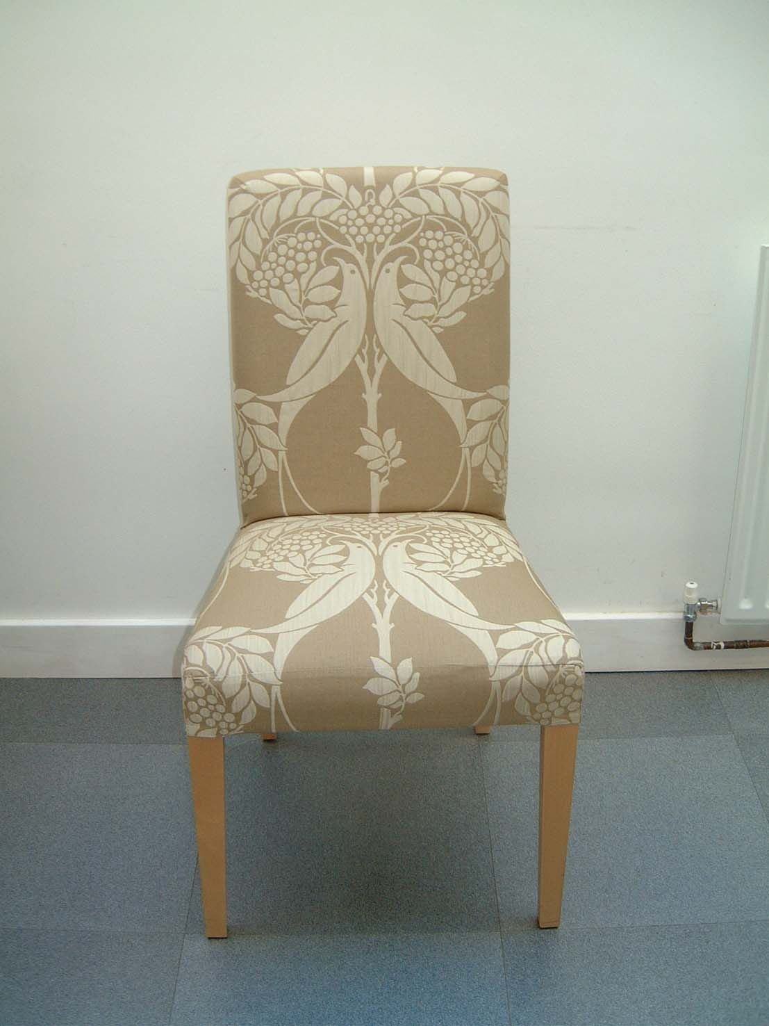 Pretty-tan-bird-and-tree-pattern-removable-dining-chair-slipcover ...